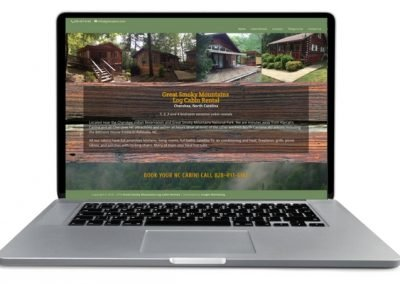 cabin rental website homepage